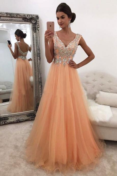 Beading Prom Dresses,V Neck Formal Dress,A Line Evening Gowns,Banquet Dress