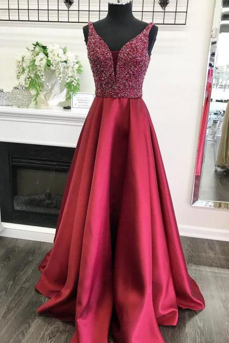 Dark Red Prom Dresses,Beading Prom Dress,V Neck Prom Dress,Evening Gowns,Formal Dress