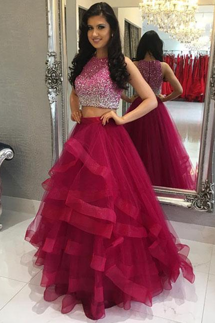 Two Piece Prom Dress,Burgundy Beading Sleeveless Prom Dress,Formal Evening Gowns,Party Dress 2018