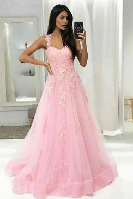 Beautiful Pink A-line Prom Dress,Lace Sweetheart Sleeveless Prom Dress,Formal Evening Gowns,Party Dress 2018