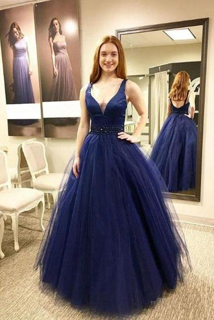 Deep V-neck A-line Prom Dress,Royal Blue Sleeveless Prom Dress,Formal Evening Gowns,Party Dress 2018