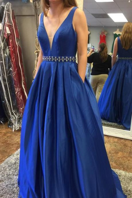 Royal Blue Prom Dress,Beading A-line Sleeveless Prom Dress,Formal Evening Gowns,Party Dress 2018