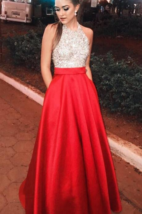 Beading Sequins Long Prom Dress, A-line Sleeveless Prom Dress,Formal Evening Gowns,Party Dress 2018