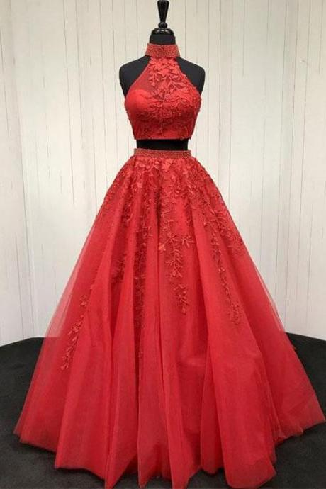 Red Prom Dress,Two Piece A-line Prom Dress, Appliques Prom Dress,Formal Evening Gowns,Party Dress 2018