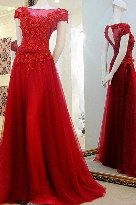 Red A-line Prom Dress,Pretty Appliques Long Prom Dress,Formal Evening Gowns,Party Dress 2018