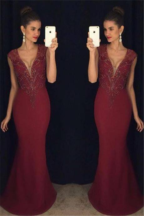 Burgundy V-neck Beading Mermaid Sleeveless Prom Dress,Formal Evening Gowns,Party Dress 2018