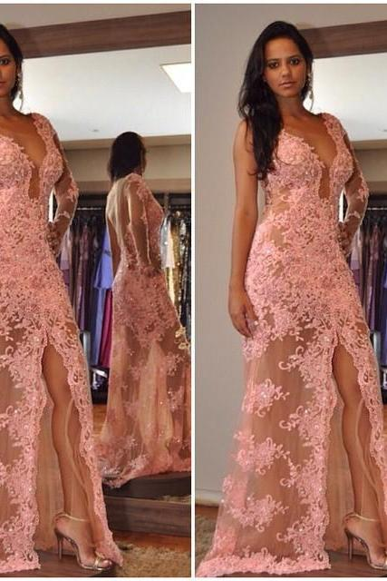 Pink Lace Prom Dress With Beading,Sexy Deep V-neck Split Mermaid Prom Dress,Formal Evening Gowns,Party Dress 2018