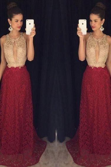 Gold And Burgundy A-line Lace Sleeveless Prom Dress,Formal Evening Gowns,Party Dress 2018