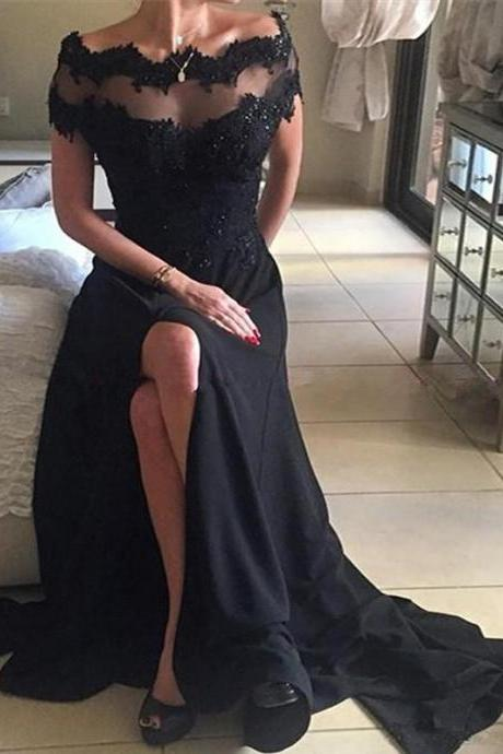 Black Lace A-line Split Prom Dress,Evening Dresses 2018,Formal Gowns,Banquet Dress,Party Gowns