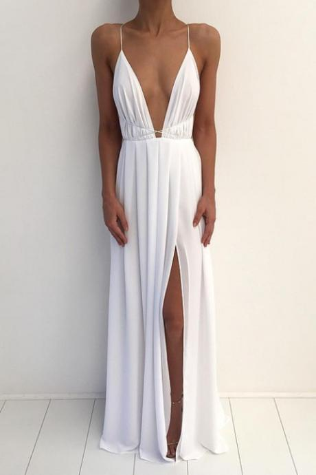 Sexy White Deep V-neck Split A-line Prom Dress,Evening Dresses 2018,Formal Gowns,Banquet Dress,Party Gowns