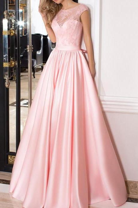 Lace Pink A-line Satin Prom Dress,Evening Dresses 2018,Formal Gowns,Banquet Dress,Party Gowns
