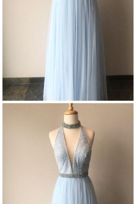 Light Blue A-line Chiffon Long Prom Dress,Evening Dresses 2018,Formal Gowns,Banquet Dress