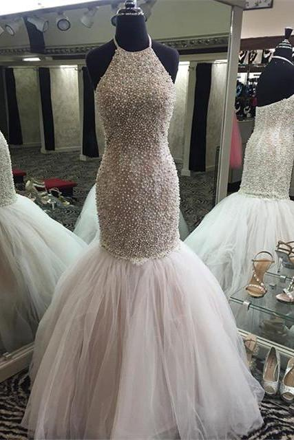 Custom Made Grey Beading Mermaid Tulle Long Prom Dress,Evening Dresses 2018,Formal Gowns,Banquet Dress,Party Gowns