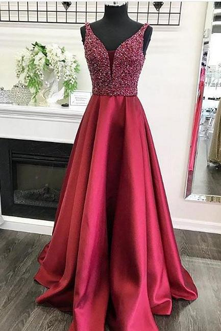 Sleeveless Plunging V Beaded Satin A-line Long Prom Dress, Evening Dress, Formal Gown