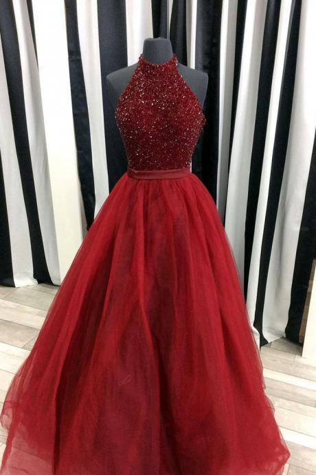 Custom Made Burgundy A-line Sleevless Prom Dress,Evening Dresses 2018,Formal Gowns,Banquet Dress,Party Gowns