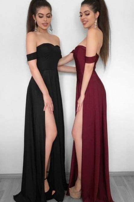Off The Shoulder A-line Chiffon Prom Dress,Evening Dresses 2018,Formal Gowns,Banquet Dress,Party Gowns