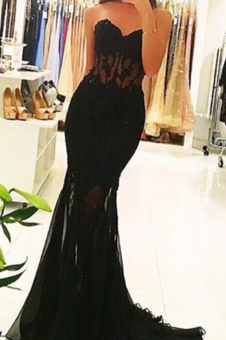 Black Sweetheart Mermaid Prom Dress,Evening Dresses 2018,Formal Gowns,Banquet Dress,Party Gowns