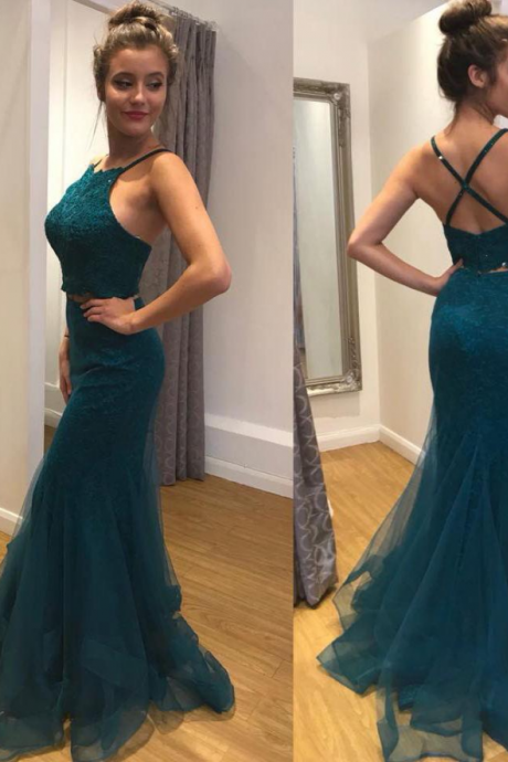 Two Piece Mermaid Satin Prom Dress,Lace Evening Dresses 2018,Formal Gowns,Banquet Dress,Party Gowns
