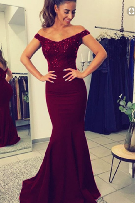 Off The Shoulder Mermaid Satin Prom Dress,Burgundy Lace Evening Dresses 2018,Formal Gowns,Banquet Dress,Party Gowns