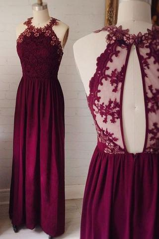 Burgundy Lace A-line Chiffon Prom Dress,Evening Dresses 2018,Formal Gowns,Banquet Dress,Party Gowns