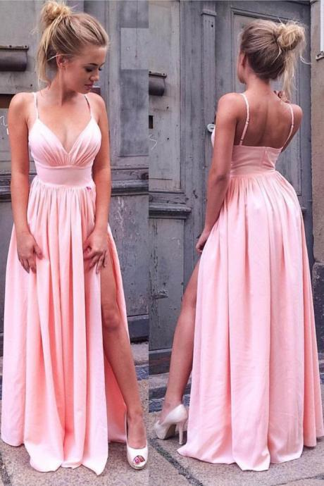 Pink A-line Split Side Satin Prom Dress,Evening Dresses 2018,Formal Gowns,Banquet Dress,Party Gowns