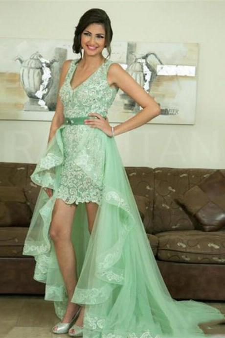 Mint Green Lace High-low A-line Prom Dress,Evening Dresses 2018,Formal Gowns,Banquet Dress,Party Gowns