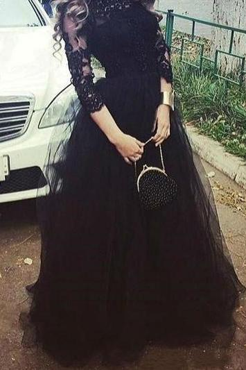 Pretty Lace Black A-line Tulle Prom Dress,Evening Dresses 2018,Formal Gowns,Banquet Dress,Party Gowns