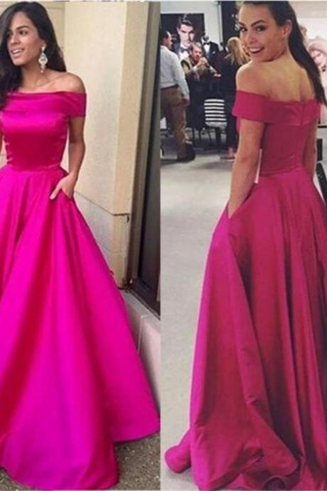 Simple A-line Satin Prom Dress,Evening Dresses 2018,Formal Gowns,Banquet Dress,Party Gowns