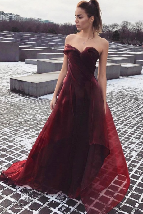 Pretty A-line Sweetheart Prom Dress,Burgundy Evening Dresses 2018,Formal Gowns,Banquet Dress,Party Gowns