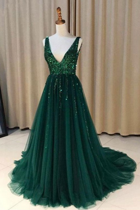 Hunter Green Prom Dresses,Deep V Neck Prom Dress,Floor Length Evening Gowns,A Line Formal Dress