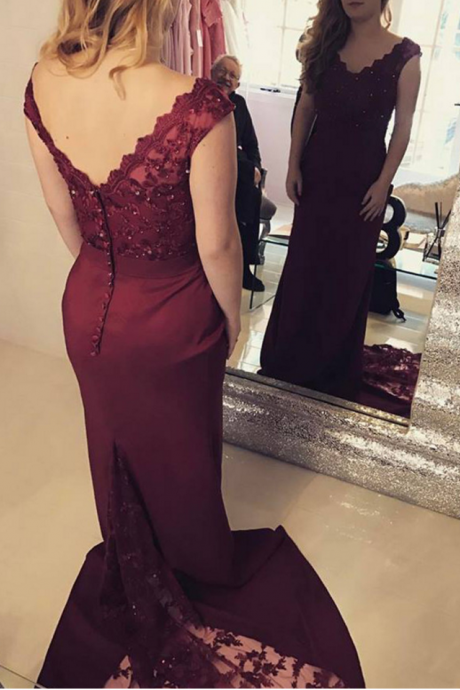 Burgundy Mermaid Prom Dresses 2018 Floor Length Evening Gowns Long Women Formal Party Dress