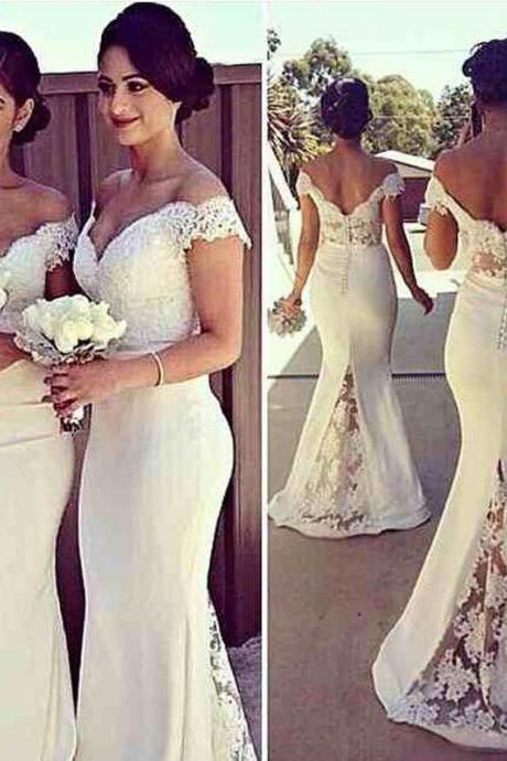 White Bridesmaid Dress,Mermaid Bridesmaid Dresses,Off The Shoulder Bridesmaid Gowns,Maid Of Honor Dresses