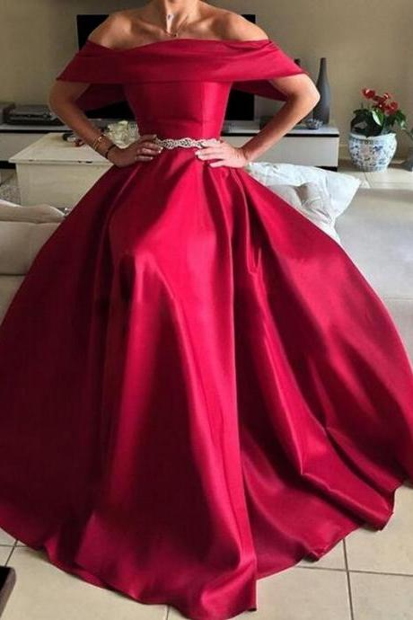 Satin Off-The-Shoulder Floor Length A-Line Prom Dress Featuring Beaded Embellished Belt