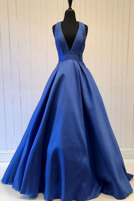 Royal Blue Deep V Neck Prom Dresses Long 2018 Evening Gowns A Line Women Formal Party Dress