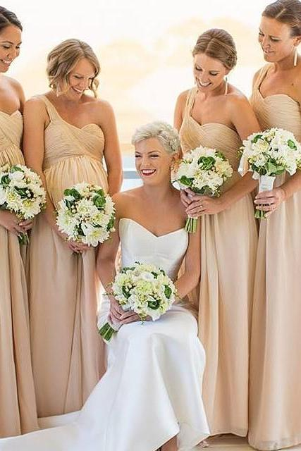 One Shoulder Bridesmaid Dresses,Champagne Bridesmaid Gowns,Maid OF Honor Dress,Wedding Party Dress 2018