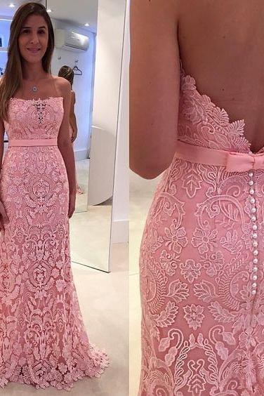 Pink Lace Prom Dresses,Mermaid Prom Dress 2018,Strapless Evening Gowns,Women Formal Party Dress