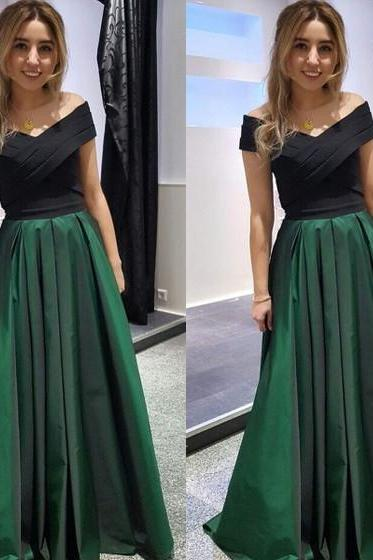 Black And Green Prom Dresses,Off The Shoulder Prom Dress,Evening Dresses 2018,A Line Party Dress