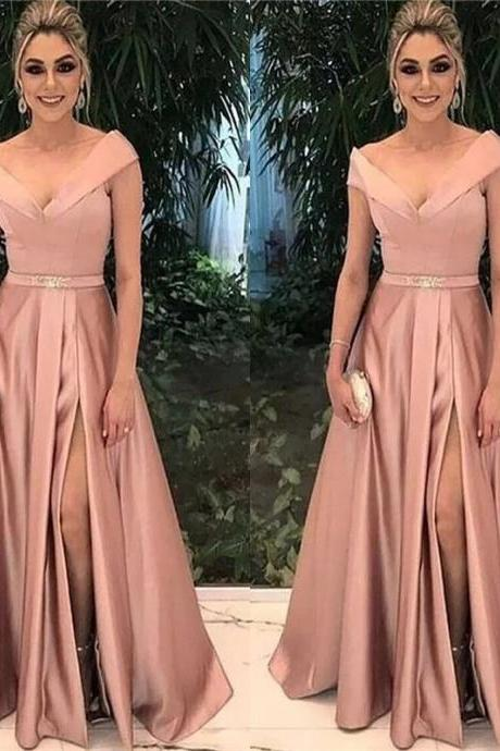 Off The Shoulder Prom Dresses,Ever Pretty Prom Dress,Side Split Evening Dress,Formal Party Gowns,Prom Dress 2018