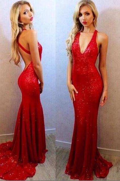 Red Prom Dresses,Sequins Prom Dress,Mermaid Evening Dress,Deep V Neck Party Dress,Formal Dinner Gowns,Prom Dress 2018