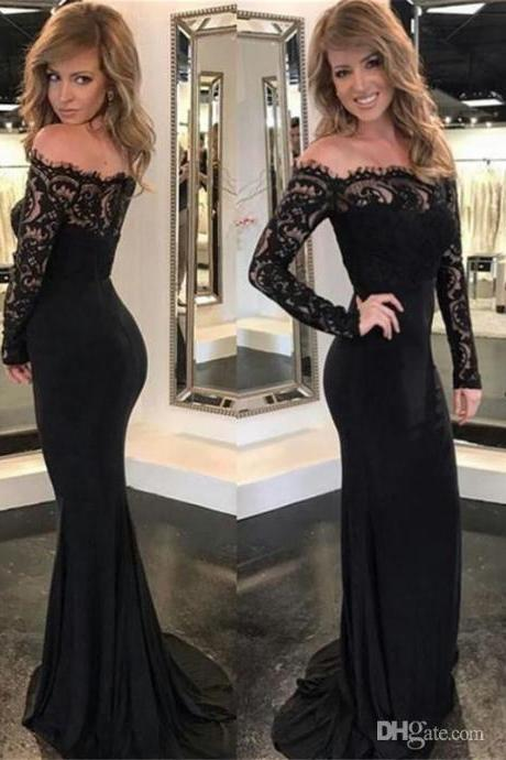 Black Prom Dresses,Mermaid Prom Dress,Long Sleeve Evening Gowns,Formal Women Dress,Special Occasion Dress 2018