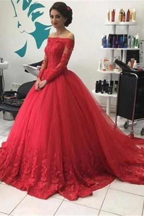 Ball Gown Prom Dresses,Red Lace Prom Dress,Long Sleeve Evening Dress,Formal Party Gowns,Special Occasion Dresses
