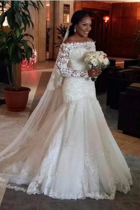 African Wedding Dresses,Long Sleeve Wedding Dress,Wedding Dresses 2019,Mermaid Bridal Dress