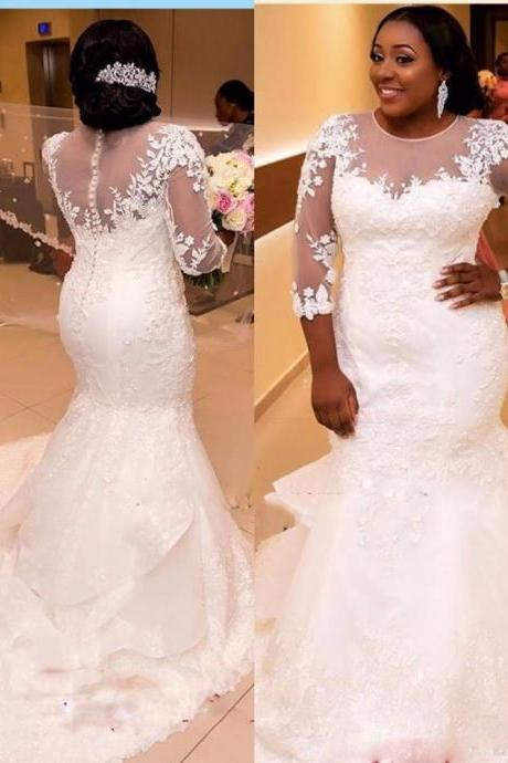African Wedding Dresses,Plus Size Wedding Dresses,Wedding Dress 2019,Long Sleeve Bridal Gowns,Handmade Bridal Dress