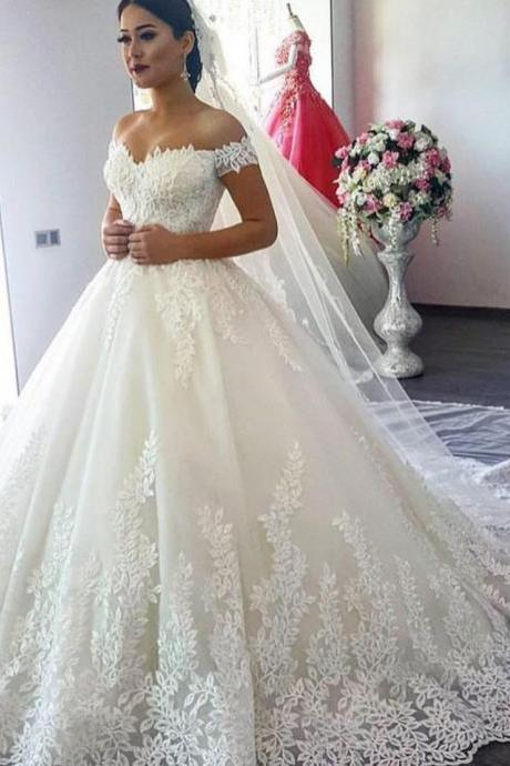 Off The Shoulder Wedding Dresses,Vintage Wedding Dress 2019,Ball Gown Wedding Dress,Handmade Bridal Dress