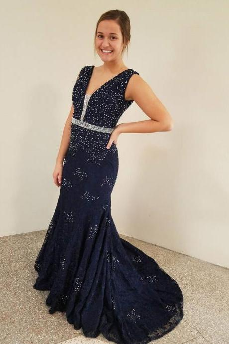 Navy Blue Prom Dresses,Beaded Prom Dress,Prom Dresses 2018,Mermaid Evening Dress,Formal Party Dress