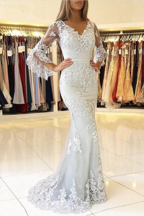 Arabic Prom Dresses,Mermaid Prom Dress,Prom Dress 2019,Long Sleeve Imported Party Dress,Formal Gowns