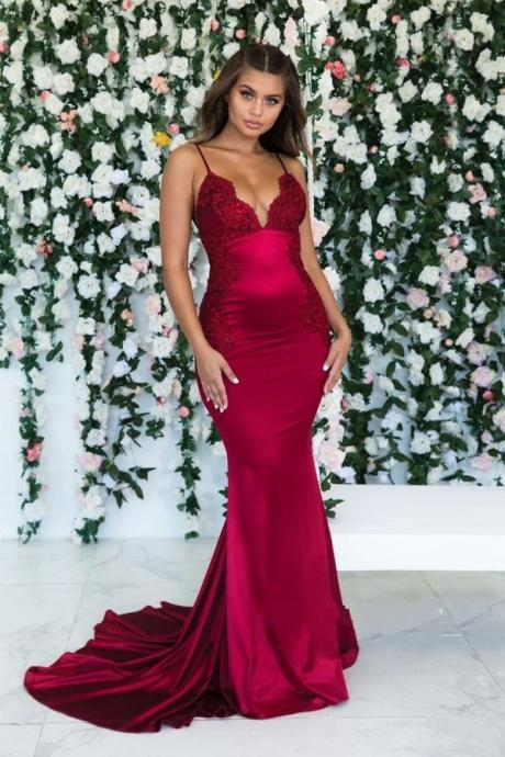 Red Prom Dresses,Mermaid Prom Dress,Imported Party Dress,Evening Gowns,Formal Dress