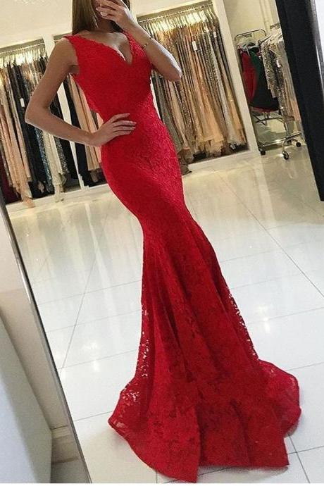 Red Lace Prom Dresses,Mermaid Prom Dress,Evening Gowns,Special Occasion Dress,Imported Party Dress