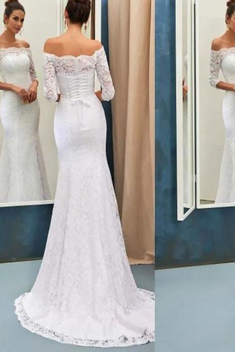 Vintage Lace Wedding Dresses,Mermaid Wedding Dress,Bridal Gowns With Sleeves,vestido de noiva