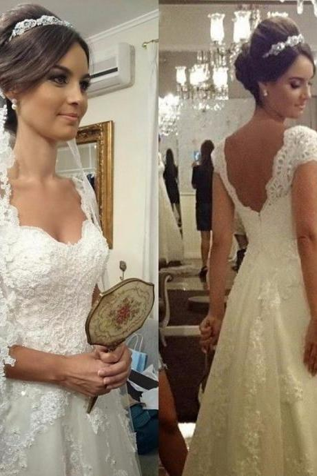 Cheap Lace Wedding Dresses,Open Back Wedding Dress 2019,Handmade Bridal Gowns,vestido de noiva